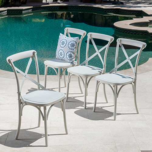 GDF Studio Ernie Outdoor Plastic Nylon Dining Chairs (Set of 4, French White)