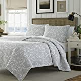 3 Piece Grey Paisley Quilt King Set, Gray Geometric Coastal Medallion Floral Pattern Theme Bedding Lake House Cottage Modern Shabby Chic Classic Motif Reversible Quilted Texture Bedspread, Cotton