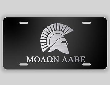 Man Cave Vanity : Amazon.com: molon labe spartan helmet vanity license plate etched