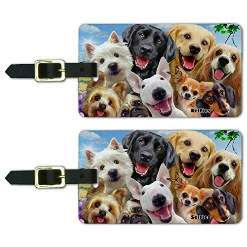 Dogs Selfie Lab Golden Retriever Westie Luggage ID Tags Cards Set of 2