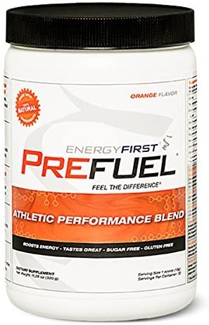 Prefuel Pre-Workout Energizer 100 Natural Sugar Free Gluten Free Non-GMO Vegan Great Tasting Orange Flavored Pre-Workout 11.28 oz by EnergyFirst