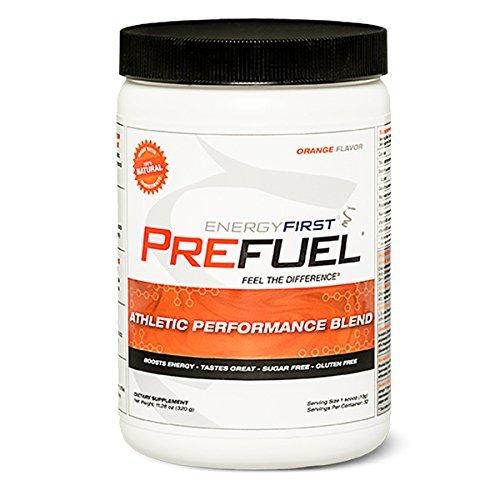 Prefuel Pre-Workout Energizer | 100% Natural | Sugar Free | Gluten Free | Non-GMO | Vegan | Great Tasting Orange Flavored Pre-Workout | 11.28 oz by EnergyFirst
