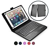 COOPER INFINITE EXECUTIVE Keyboard case for 11'' - 12'' inch tablets | 2-in-1 Bluetooth Wireless Keyboard & Leather Folio Cover | Universal Fit, Stand, Vegan Leather, 100HR Battery, 14 Hotkeys (Black)