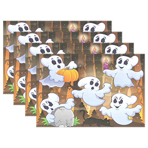 (POGResdx Ghost Halloweem Placemats Heat Wrinkle Resistant Antiskid Table Mats Decoration for Dinner Kitchen Table 1)