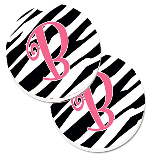 Zebra Monogram - Caroline's Treasures Monogram Initial B Zebra Stripe & Pink Set of 2 Cup Holder Car Coasters CJ1037-BCARC, 2.56, Multicolor