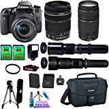 Canon EOS Rebel T6S & 18-135mm IS STM & 75-300mm III & 500mm Telephoto & 650-1300mm Ultra Zoom Lens. PagingZone Kit Includes, 2 Pcs - 16GB Card + Canon Bag + Flash + Tripod + UV Filter + Card Reader