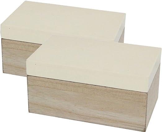 Caja de madera de color crema y natural – rectangular (juego de 2 ...