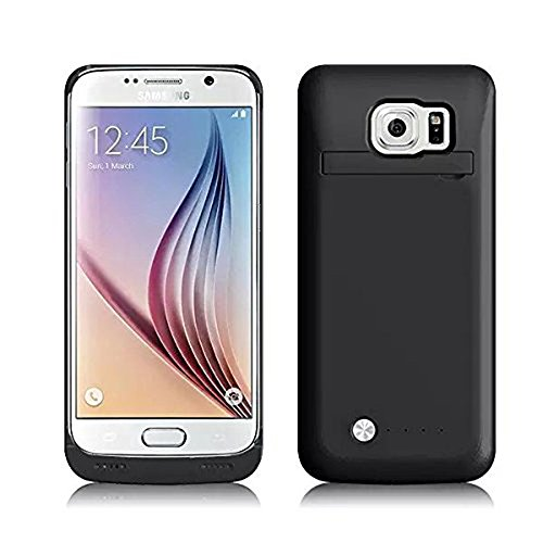 Galaxy S6 Edge case, Febe 4200mAh Backup External Protective Battery Charger, Portable Backup Power Bank Case with Kickstand, Slim Fit Slider Design For Galaxy S6 Edge - Black