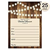 Rustic Bridal Shower Invitations with Envelopes ( Pack of 25 ) Wood & Lights Fill In Bridal Shower Invites Excellent Value Wedding Party Invitations VI0007B