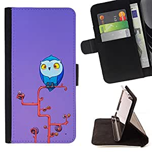 DEVIL CASE - FOR Sony Xperia Z2 D6502 - Owl Blue Big Eyes Yellow Art Tree Branch - Style PU Leather Case Wallet Flip Stand Flap Closure Cover
