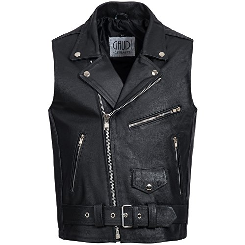 Gaudi-leathers Mens Leather Waistcoat Motorcycle Motorbike Chopper Biker Vest Brando Style in Black XL