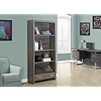 Dark Taupe Reclaimed-Look 71H Bookcase with a Drawer