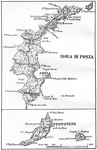 Italy Ponza Ventotene 1945 Old Antique Vintage Map Printed
