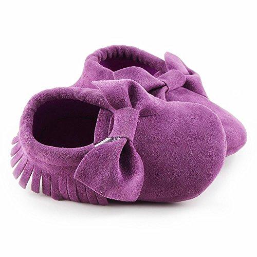 Royal Victory R & V Unisex Baby Jungen Mädchen Vorläufer-Schleife Mocassins Weicher Sohle Quasten Kleinkinder Schuhe 11Farben Suede Light Purple