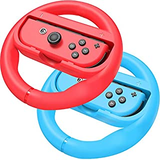 Racing Games Steering Wheel Grip-Suitable for Nintendo Switch Mario Kart, Joy-Con Steering Wheel, Red and Blue (Adult Version)