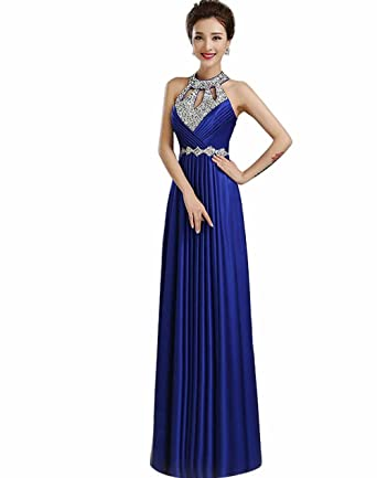 Manfei 2019 New Beaded O Neck Long Formal Evening Prom Dress Open Back  Royal Blue Size c6c0d9f23