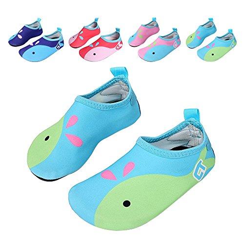 JACKSHIBO Männer Frauen und Kinder Quick-Dry Wasser Haut Schuhe Aqua Socken Für Wassersport Schwimmen Surf Yoga Exercise Beach Kinder-Himmelblau