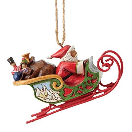 """(Jim Shore Heartwood Creek Santa in Sleigh Ornament, 2.5"""")"""