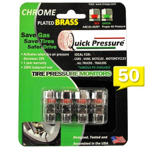 Quick Pressure QP-000050 Chrome Plated Brass 50 psi Tire Pressure Monitoring Valve Cap, (Pack of 4)