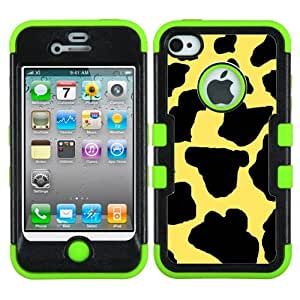 One Tough Shield ? Hybrid 3-Layer Phone Case (Black/Green) for Apple iPhone 4 4S - (Cow Skin Yellow)