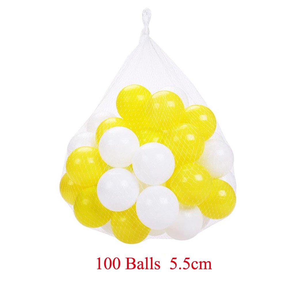 日本最大の パック100のplaymatyカラフルな海洋ボールプラスチックボールKids Swim Baby Pit Pit Funおもちゃホワイトとイエロー100ピースボールwithストレージバッグfor Baby Playhouseプール誕生日パーティー装飾 hyq007-5.5 hyq007-5.5 B077BTMT2Z Yellow+white, RUBBERSOUL:6ed2f415 --- irlandskayaliteratura.org