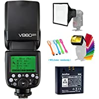 Godox V860II-F TTL GN60 2.4G High-Speed Sync 1/8000s Li-on Battery Camera Flash Speedlite for Fujifilm Camera+15x17cm Softbox & Filter +USB LED Free Gift