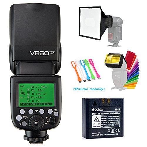 Godox V860II-F TTL GN60 2.4G High-Speed Sync 1/8000s Li-ion Battery Camera Flash Speedlite Light Compatible for Fujifilm Camera with 15x17cm Softbox & Filter &USB LED