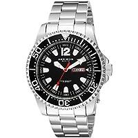 Akribos XXIV Men's Silver Tone Case with Black Dial on Silver-Tone Stainless Steel Bracelet Watch AK947SSB