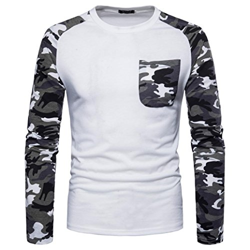 YOcheerful Men's Casual T-Shirt Sexy Pullover Long Sleeve Top Blouse Tees (White,S)