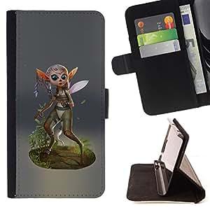 BullDog Case - FOR/LG OPTIMUS L90 / - / FAIRY FOREST WINGS MAGIC NATURE GREEN ECO /- Monedero de cuero de la PU Llevar cubierta de la caja con el ID Credit Card Slots Flip funda de cuer