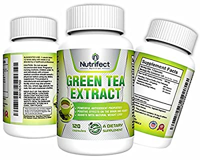 Nutrifect Nutrition Vegetarian Green Tea Extract Capsules with EGCG for Weight Loss, 120 Capsules, Decaffeinated