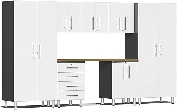 Ulti-MATE UG22082W 8-Piece Garage Cabinet Kit with Bamboo Worktop in Starfire White Metallic