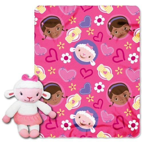 "Disney ""Doc McStuffins, Lambie Hugs"" Fleece Throw with Hugger, 40 by 50-Inch"