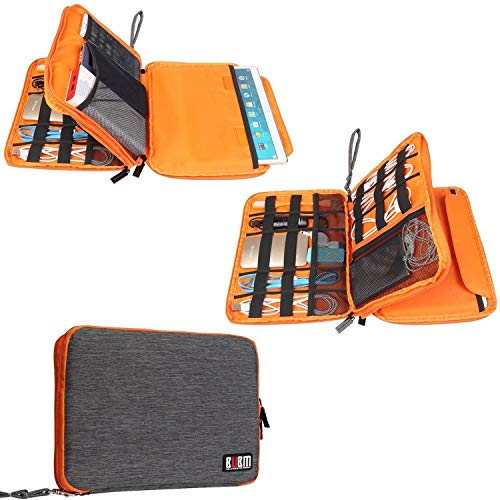 BUBM Travel Cable Organizer, Universal Electronic Accessories Bag Gear Storage for Cord, USB Flash Drive, Earphone and more, Perfect Size for iPad (Large, Grey and Orange)