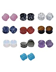 "D&M Jewelry Kit 20pcs 2g-5/8"" Organic Stone Cat's Eye Tiger's Eye Opalite Red Agate Hematite Blue Amazonite Turquoise Obsidian Amethyst Flared Plugs Stretchers"