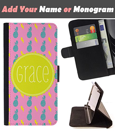 [ Customize Your Case ][ ALCATEL PIXI 4 (5) ] Personalized Monogram Name Leather Wallet Flip Cover - Halloween Black (Halloween Cats Names)