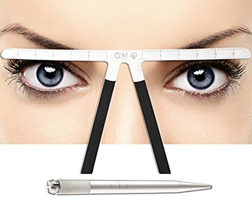 Eyebrow Ruler Reusable Three-Point Balance Positioning Kit With Bonus Microblading Pen, Makeup Template Bendable Measuring Symmetrical Tool Professional Caliper