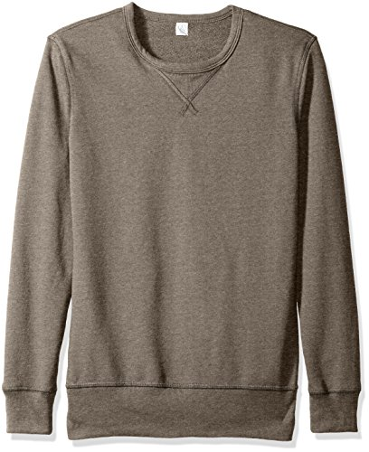 French Terry Sweatshirt - Alternative Men's Sport French Terry B-Side Reversible Crew Neck, Vintage Coal, L