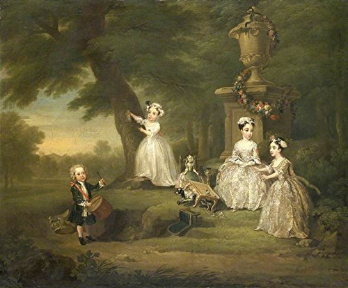Cutler Miles A Children's Tea Party by William Hogarth Hand Painted Oil (Tea Party Canvas Reproduction)