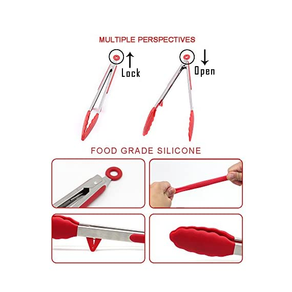 Fodier Cooking Utensils 3 PREMIUM FDA APPROVED SILICONE: FODIER premium silicone salad tongs is 100% FDA Grade and BPA Free. It's heat resistant to 480F, and stain and odor resistant. FODIER tongs heads offer the best grip and control available, and simply won't melt, warp, rust. EASY TO USE & DISHWASHER SAFE - Scalloped steel heads coated in silicone with Non-slip Surface design offer you the best control on food. Enough silicone tips give you comfortable. Sturdy stainless steel with premium heat resistant, no-stick silicone tips is easy to clean and dishwasher safe. LOCKING MECHANISM & HANGING LOOPS - Pull the lock and store them in your drawer or hang them while using minimum space!