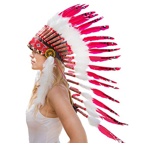 Novum Crafts Feather Headdress | Native American Indian Inspired | Red (Indian Red)