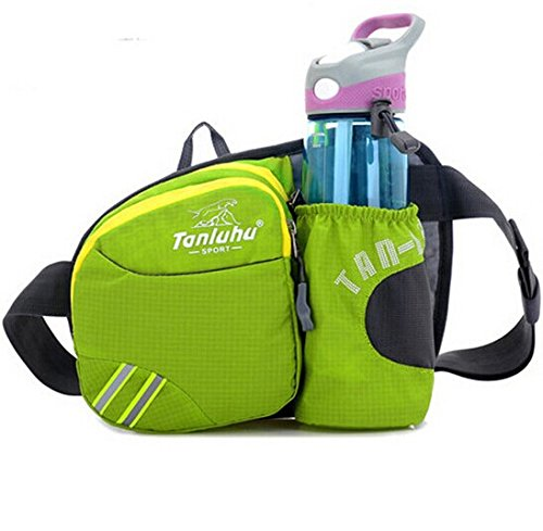Waist Pack - Running Bag Belt with Water Bottle Holder - Waterproof Fanny Pack with Reflective Tabs (Green) ()