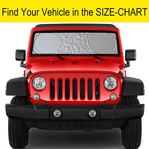 Windshield Sun Shade SUV Car Size Chart with Your Vehicle Universal Quality-210T Keep Vehicle Accessories Cool UV Sun and Heat Reflector Sunshade (XS(not for Most Vehicles))