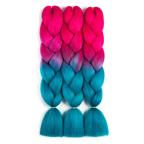 SONNET Synthetic Ombre Jumbo Braiding Hair 3bundles/lot 300g Kanekalon Fiber Hair Extension for Box Twist Braiding with 10pcs Free Decoration Dreadlock Deads (Peach-Red/Lake-Blue)]()