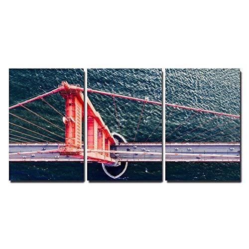 Bird's Eye View of Golden Gate Bridge San Francisco Ca USA x3 Panels