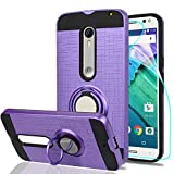 Ymhxcy for Moto X Pure Edition(Moto X Style) Case with HD Phone Screen Protector,360 Degree Rotating Ring & Bracket Dual Layer Resistant Back Cover for 2015 Motorola Moto X Style XT1575-ZH Purple