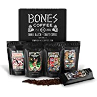 Bones Coffee Favorite Flavors Sample Pack, Flavored Ground Coffee Beans Sampler Gift Box Set, Pack of 5 Assorted Flavored Coffee Beans (Ground)