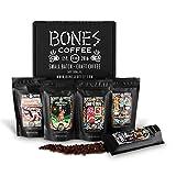 Bones Coffee Favorite Flavors Sample Pack, Flavored Ground Coffee Beans Sampler Gift Box Set, Pack of 5 Assorted Flavored Coffee Beans