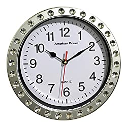 American Dream 9 Inch Silent Non-Ticking Decorative Round Diamond Quartz Battery Operated Home, Kitchen, Living Room, Bedroom, Bathroom, Office, School Wall Clock (Silver)