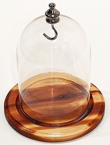 Glass watch dome with handmade red cedar base and silver top with hook